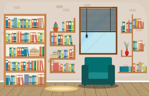 Bibliothèque publique intérieur pile de livre sur étagère plate