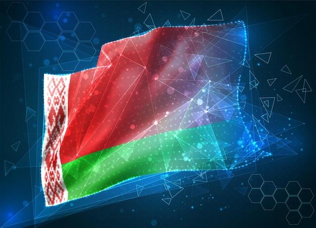 Biélorussie, drapeau vectoriel, objet 3d abstrait virtuel à partir de polygones triangulaires sur fond bleu