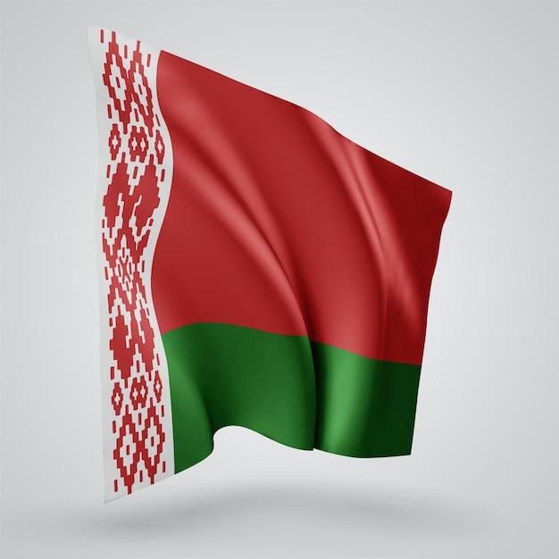 Biélorussie, drapeau vectoriel avec des vagues et des virages ondulant dans le vent sur fond blanc.