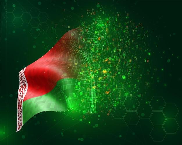 Biélorussie; vecteur 3d drapeau sur fond vert avec des polygones et des numéros de données