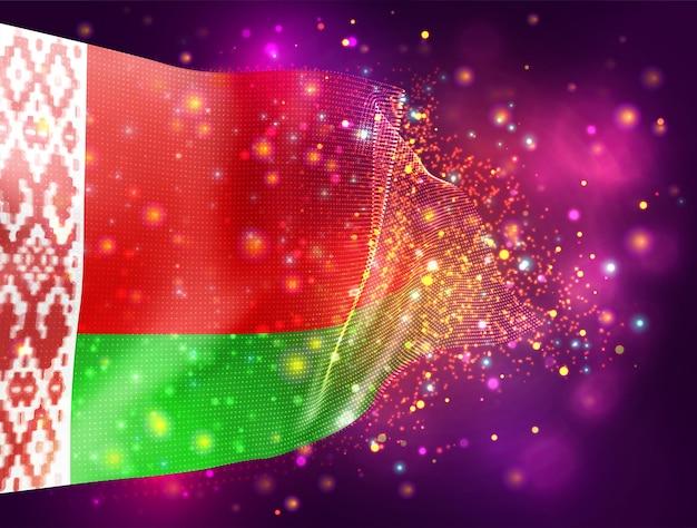 Biélorussie, vecteur drapeau 3d sur fond violet rose avec éclairage et fusées éclairantes