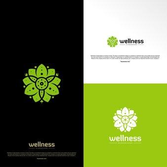Bien-être logo design concept. modèle de conception de logo nature leaf. symbole d'icône
