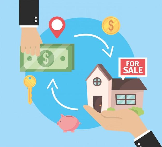 Bien immobilier à vendre et homme d'affaires