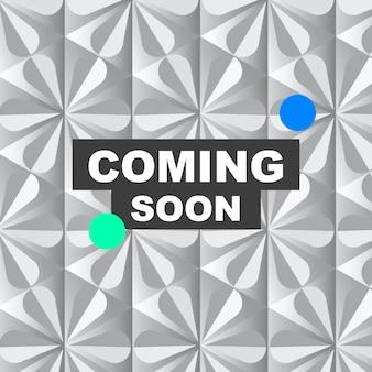 Bientôt modèle commercial vecteur publicité sur les réseaux sociaux dans un style géométrique moderne
