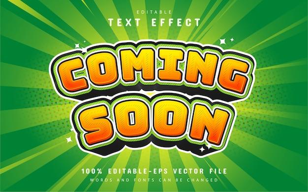 Bientôt le style de dessin animé d'effet de texte