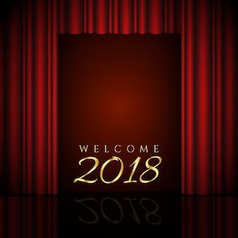 Bienvenue 2018 design avec des rideaux rouges