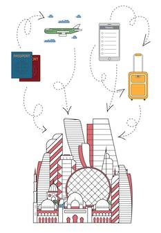 Bienvenue à abu dhabi illustration en style linéaire