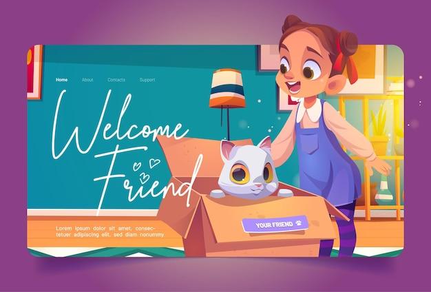 Bienvenue, ami, dessin animé, débarquement, girl, trouver, chaton