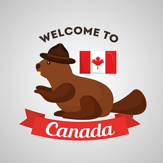Bienvenue au canada castor avec chapeau et drapeau