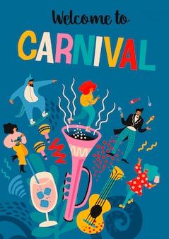 Bienvenue au carnaval. illustration vectorielle avec des hommes et des femmes drôles dans des costumes modernes lumineux.