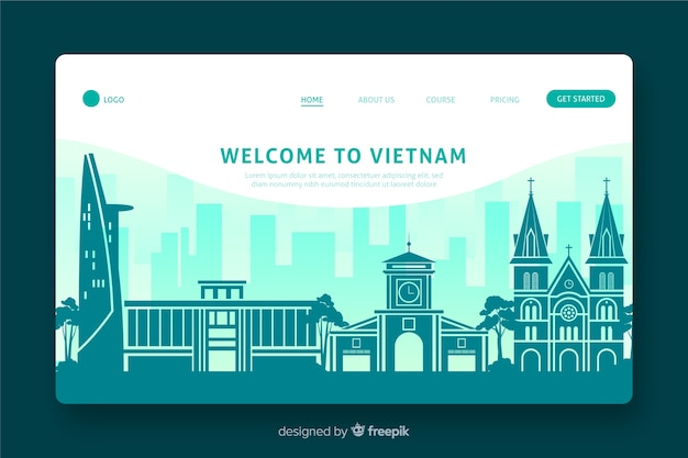Bienvenue au design plat de la page de destination du vietnam