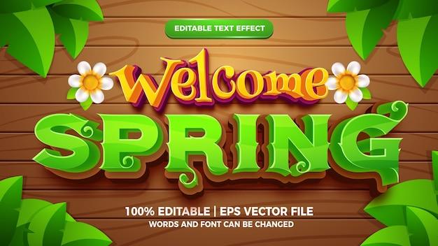 Bienvenue au printemps 3d style de dessin animé d'effet de texte modifiable