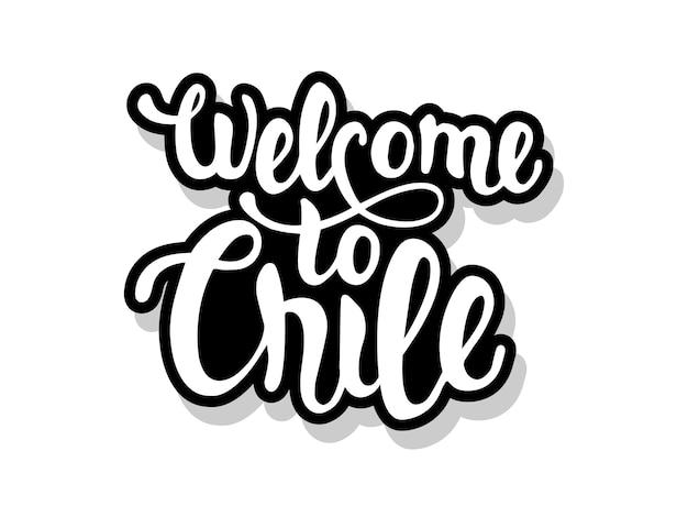 Bienvenue au texte de calligraphie chili isolé sur blanc