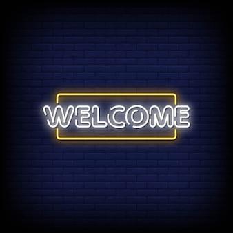 Bienvenue au texte de style enseignes au néon