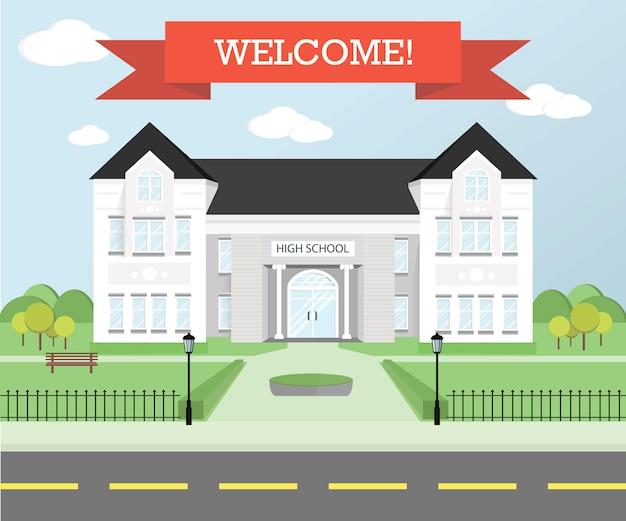 Bienvenue au thème de l'école. éducation . lieu d'étude.