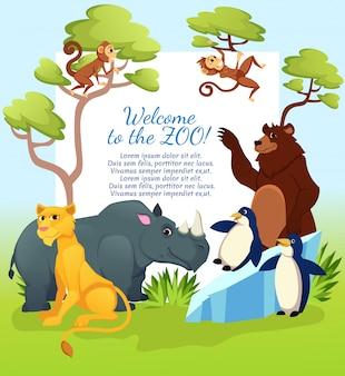 Bienvenue au zoo, carte d'invitation d'animaux