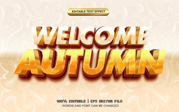 Bienvenue automne marbre 3d dessin animé comique style de modèle d'effet de texte modifiable