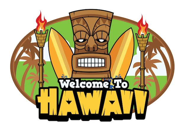 Bienvenue aux salutations hawaii tiki