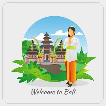 Bienvenue à Bali Carte De Voeux Avec Femme Balinaise Vecteur Premium