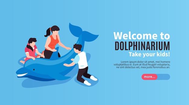 Bienvenue à la bannière bleue horizontale du delphinarium avec appel pour emmener les enfants au spectacle