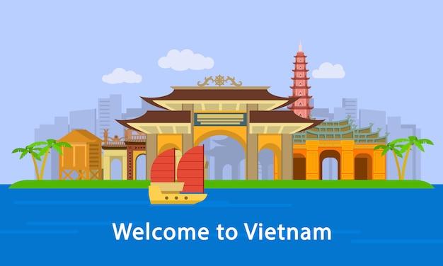 Bienvenue sur bannière de concept d'emplacement vietnam, style plat