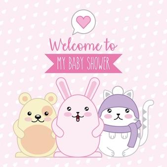 Bienvenue bébé douche affiche animaux kawaii dessin animé