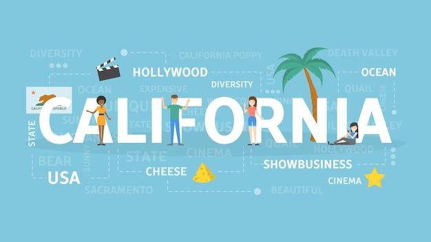 Bienvenue en californie. visitez l'état américain avec la plage et la mer.