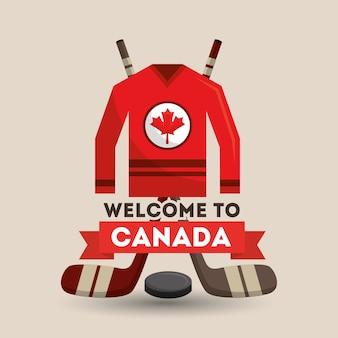 Bienvenue canada glace hocket jersey bâtons affiche de la rondelle