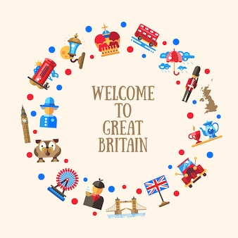 Bienvenue sur la carte de cercle de grande-bretagne avec des symboles britanniques célèbres