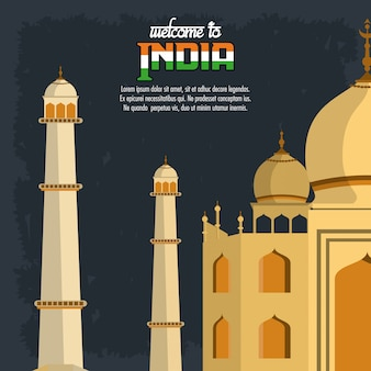 Bienvenue sur la carte de l'inde avec taj mahal
