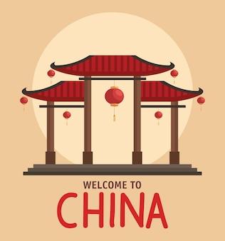Bienvenue en chine avec temple