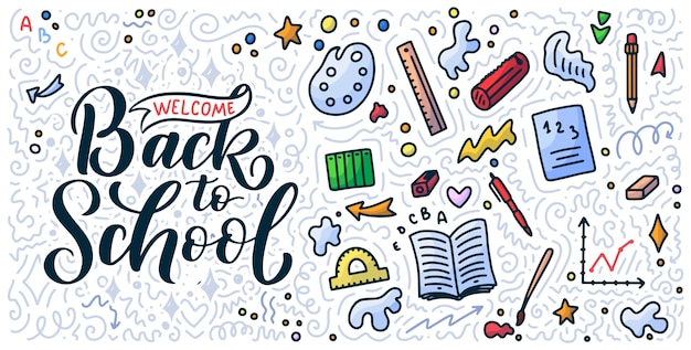 Bienvenue à la citation de lettrage de l'école et au fond de doodle.