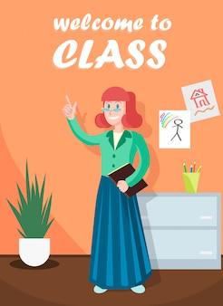 Bienvenue en classe, enseignante à la maternelle.