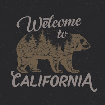 Bienvenue à la conception de t-shirt de californie avec illustration de la silhouette de l'ours