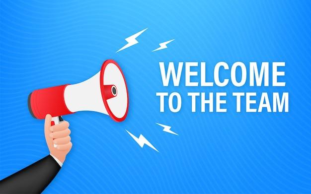 Bienvenue dans l'équipe écrite sur bulle de dialogue. enseigne publicitaire. illustration vectorielle de stock.
