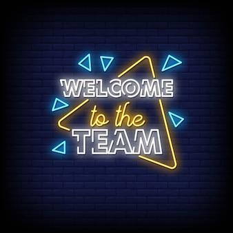 Bienvenue dans l'équipe texte de style enseignes au néon