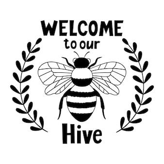Bienvenue dans notre ruche bee bee kind outline dessin illustration vectorielle
