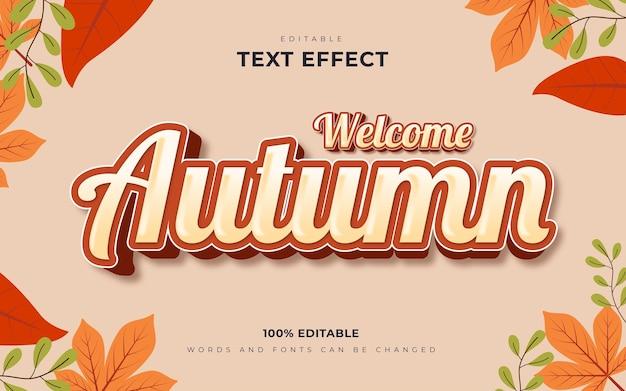 Bienvenue dans le style de modèle d'effets de texte modifiables d'automne