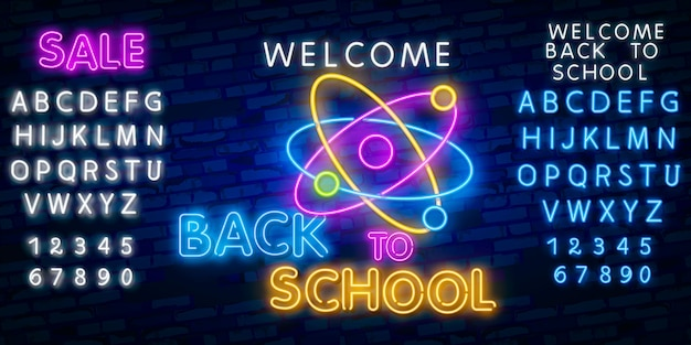 Bienvenue à l'école. effet de style néon alphabet polices alphabet
