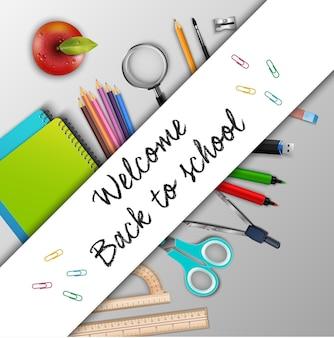 Bienvenue à l'école avec des fournitures scolaires