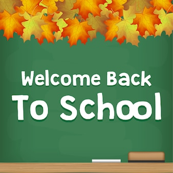 Bienvenue à L'école Tableau D'automne Saison Vecteur Premium