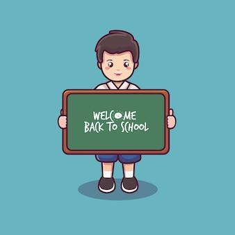 Bienvenue à l'école avec le vecteur de dessin animé étudiant et tableau noir