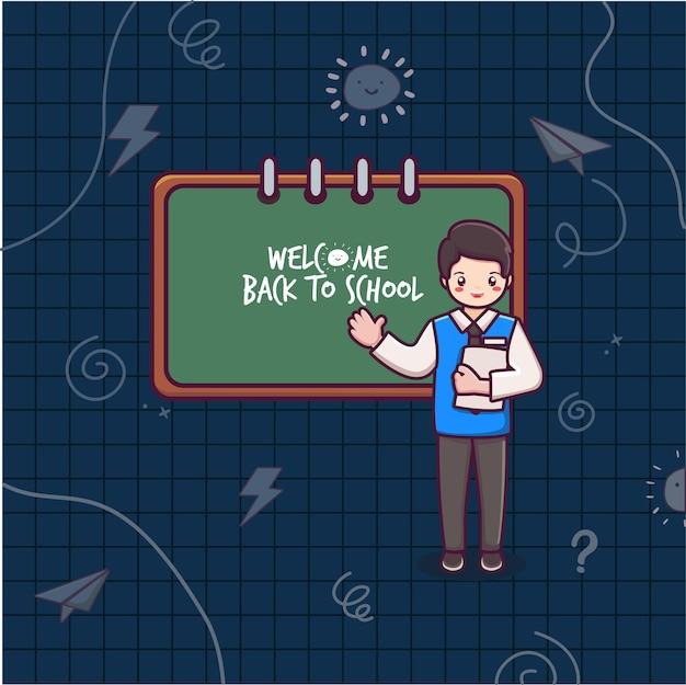 Bienvenue à l'école avec le vecteur de dessin animé teaher et tableau noir