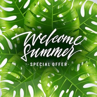 Bienvenue l'été, affiche de l'offre spéciale avec des feuilles exotiques tropicales sur fond blanc