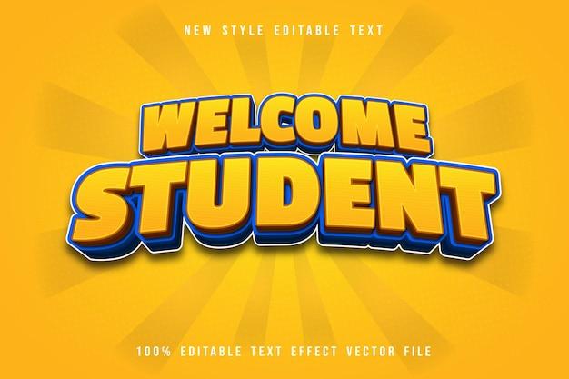 Bienvenue étudiant effet de texte modifiable dessin animé style jaune comique