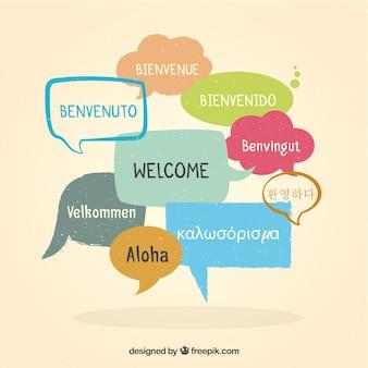 Bienvenue sur fond de composition dans différentes langues