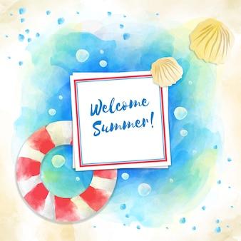 Bienvenue sur fond de plage d'été