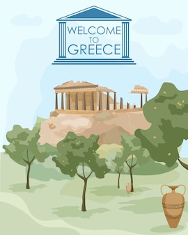 Bienvenue en grèce. attractions architecturales grecques
