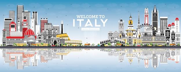 Bienvenue en italie city skyline avec bâtiments gris, ciel bleu et reflets. monuments célèbres en italie. illustration vectorielle. concept de tourisme avec architecture historique. italie cityscape avec points de repère.