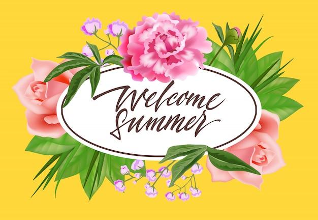 Bienvenue lettrage d'été dans un cadre ovale avec des fleurs. offre d'été ou publicité de vente